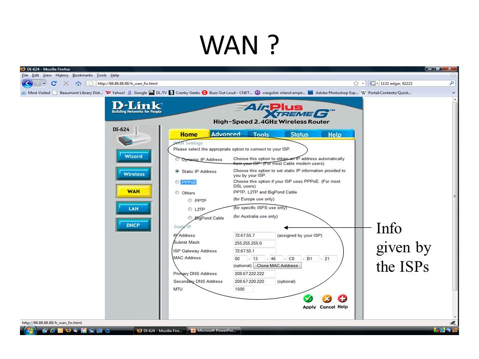 WAN Info given by the ISPs