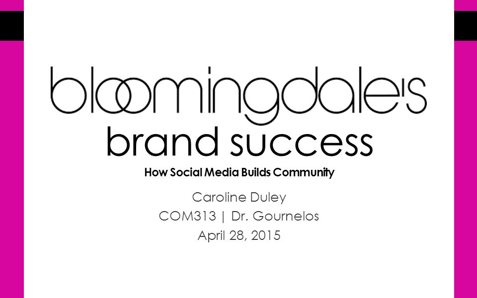 brand success How Social Media Builds Community Caroline Duley COM313 | Dr.