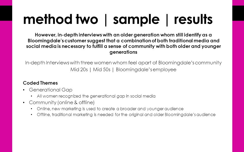 method two | sample | results However, in-depth interviews with an older generation whom still identify as a Bloomingdale's customer suggest that a combination of both traditional media and social media is necessary to fulfill a sense of community with both older and younger generations In-depth Interviews with three women whom feel apart of Bloomingdale's community Mid 20s | Mid 50s | Bloomingdale's employee Coded Themes Generational Gap All women recognized the generational gap in social media Community (online & offline) Online, new marketing is used to create a broader and younger audience Offline, traditional marketing is needed for the original and older Bloomingdale's audience
