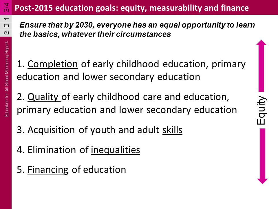 1. Completion of early childhood education, primary education and lower secondary education 2.