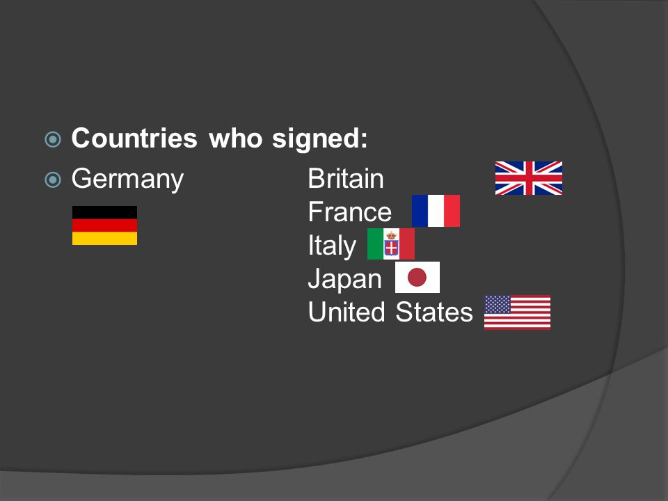  Countries who signed:  Germany Britain France Italy Japan United States