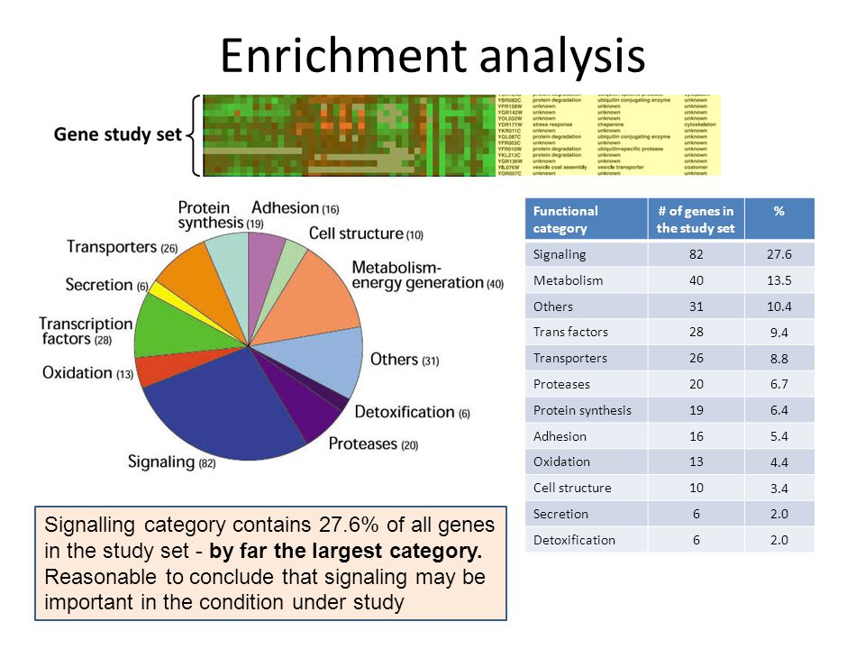 Enrichment analysis Functional category # of genes in the study set % Signaling Metabolism Others Trans factors Transporters Proteases Protein synthesis Adhesion Oxidation Cell structure Secretion6 2.0 Detoxification6 2.0 Signalling category contains 27.6% of all genes in the study set - by far the largest category.