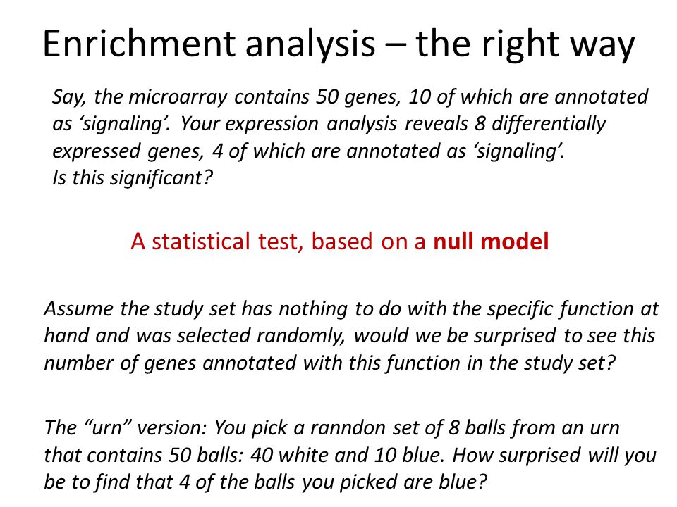 Enrichment analysis – the right way Say, the microarray contains 50 genes, 10 of which are annotated as 'signaling'.