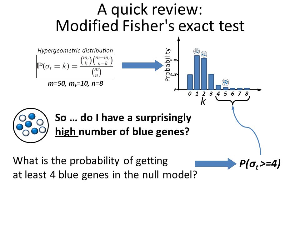 A quick review: Modified Fisher s exact test m=50, m t =10, n=8 Hypergeometric distribution So … do I have a surprisingly high number of blue genes.
