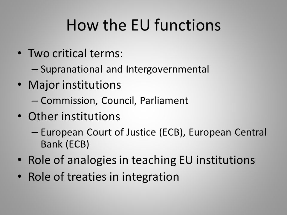 How the EU functions Two critical terms: – Supranational and Intergovernmental Major institutions – Commission, Council, Parliament Other institutions – European Court of Justice (ECB), European Central Bank (ECB) Role of analogies in teaching EU institutions Role of treaties in integration