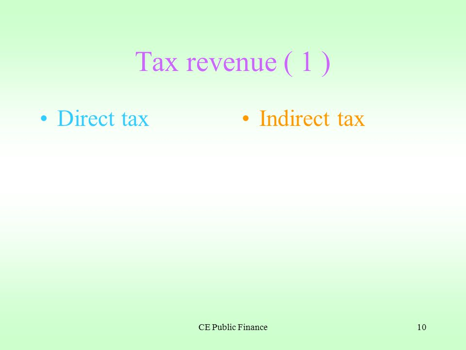 CE Public Finance9 According to how the tax payment changes with income, taxes can be classified into: __________, ____________ and __________ taxes Classification of taxes direct indirect progressive proportional regressive According to the party who bears the tax burden, taxes can be classified into: ________ taxes and ________ taxes