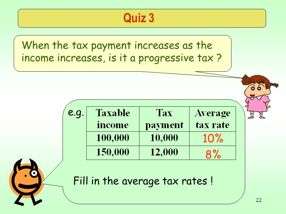 CE Public Finance21 Quiz 3 When the tax payment increases as the income increases, is it a progressive tax .