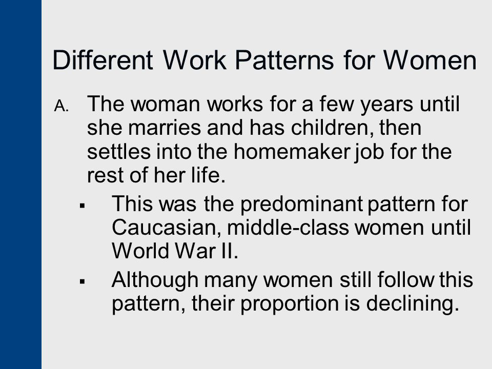 Different Work Patterns for Women A.