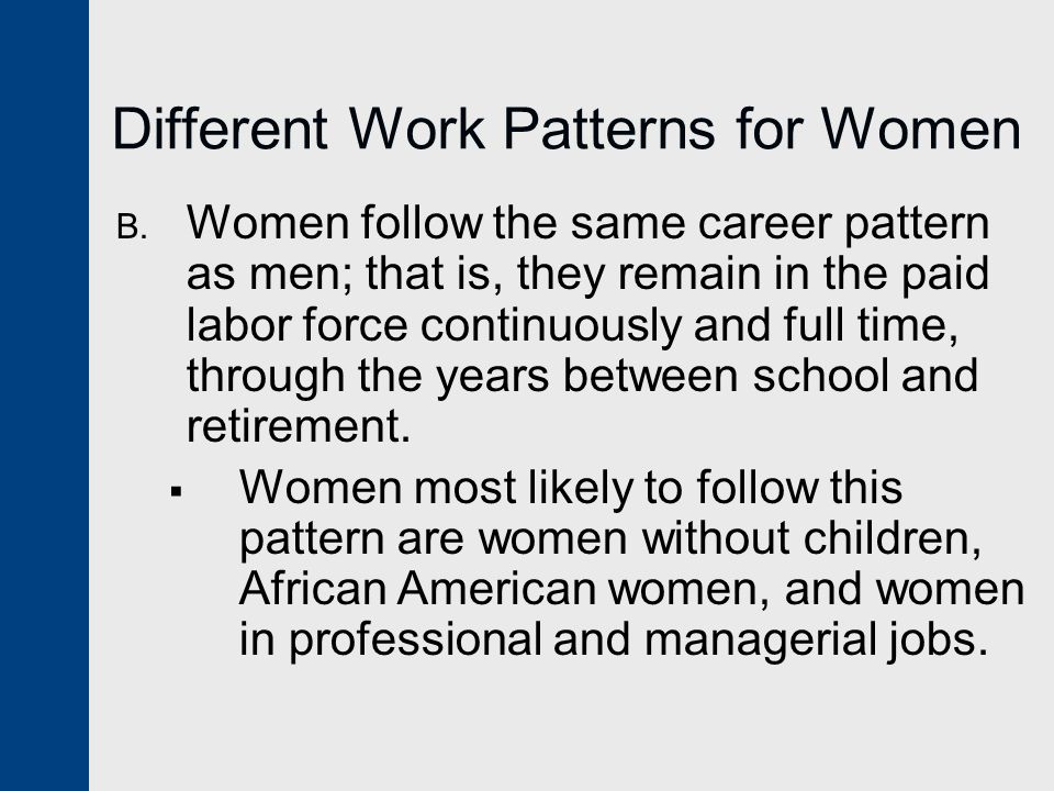 Different Work Patterns for Women B.