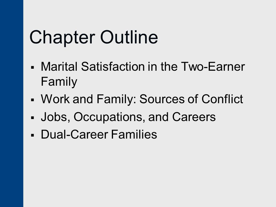 Chapter Outline  Marital Satisfaction in the Two-Earner Family  Work and Family: Sources of Conflict  Jobs, Occupations, and Careers  Dual-Career Families