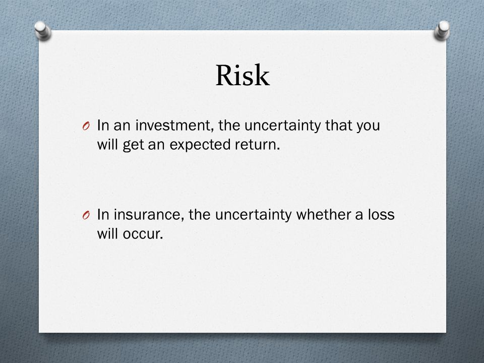 Risk O In an investment, the uncertainty that you will get an expected return.