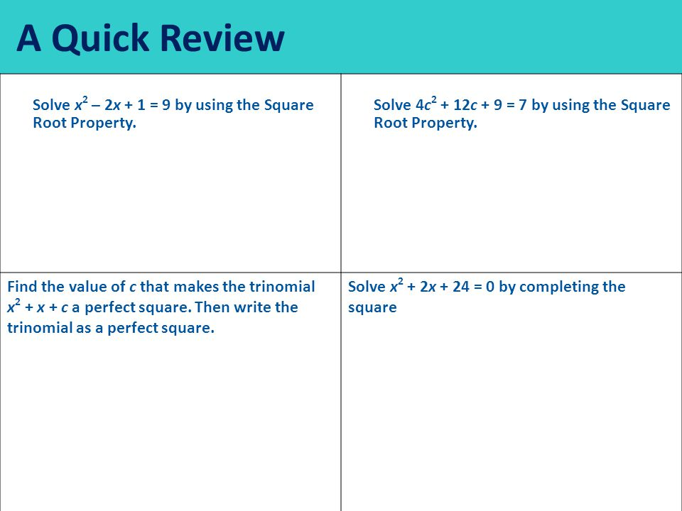 A Quick Review Solve x 2 – 2x + 1 = 9 by using the Square Root Property.