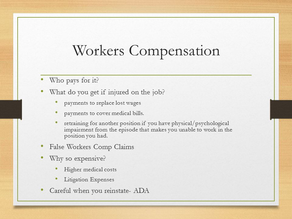 Sample of Worker's Comp Covered Injuries Source: Adapted from Nicole Nestoriak and Brooks Pierce, Comparing Workers Compensation Claims with Establishments Responses to the 5011, Monthly Labor Review, May 2009, 63.