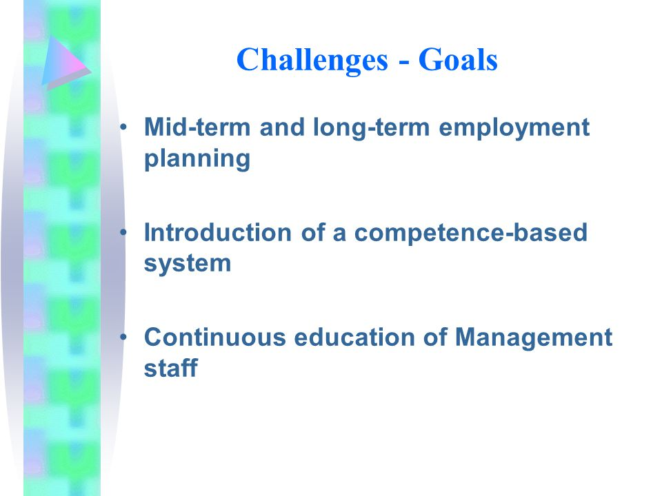 Challenges - Goals Mid-term and long-term employment planning Introduction of a competence-based system Continuous education of Management staff