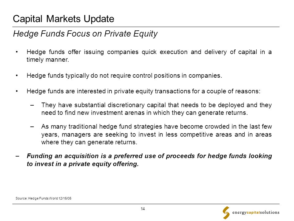 Capital Markets Update 14 Hedge funds offer issuing companies quick execution and delivery of capital in a timely manner.