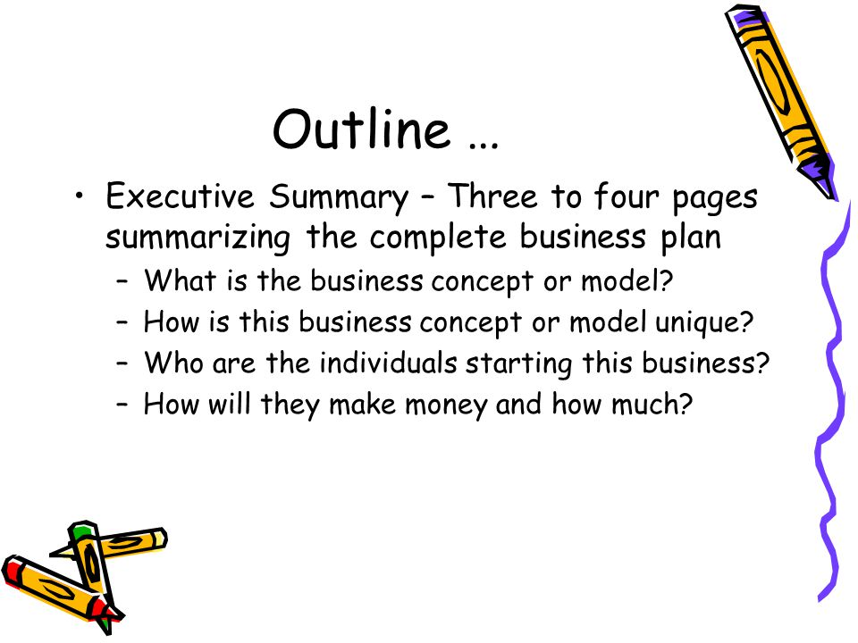 Outline … Executive Summary – Three to four pages summarizing the complete business plan –What is the business concept or model.