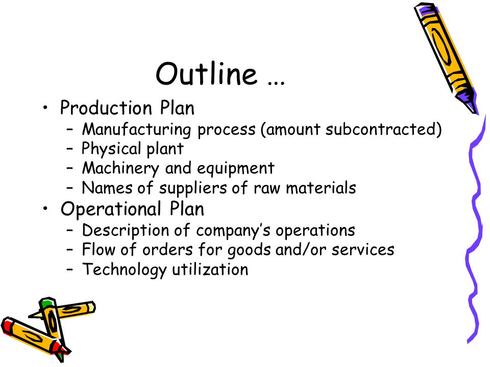 Outline … Production Plan –Manufacturing process (amount subcontracted) –Physical plant –Machinery and equipment –Names of suppliers of raw materials Operational Plan –Description of company's operations –Flow of orders for goods and/or services –Technology utilization