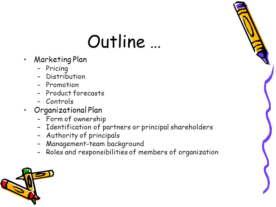 Outline … Marketing Plan –Pricing –Distribution –Promotion –Product forecasts –Controls Organizational Plan –Form of ownership –Identification of partners or principal shareholders –Authority of principals –Management-team background –Roles and responsibilities of members of organization