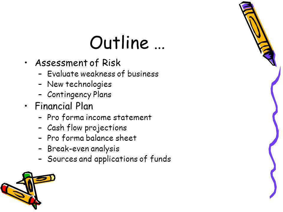 Outline … Assessment of Risk –Evaluate weakness of business –New technologies –Contingency Plans Financial Plan –Pro forma income statement –Cash flow projections –Pro forma balance sheet –Break-even analysis –Sources and applications of funds