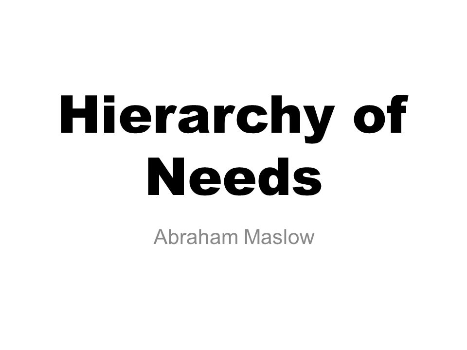 Hierarchy of Needs Abraham Maslow