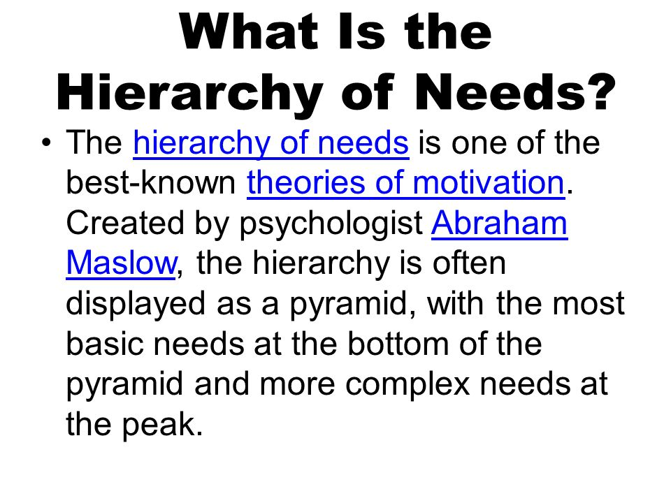 What Is the Hierarchy of Needs.