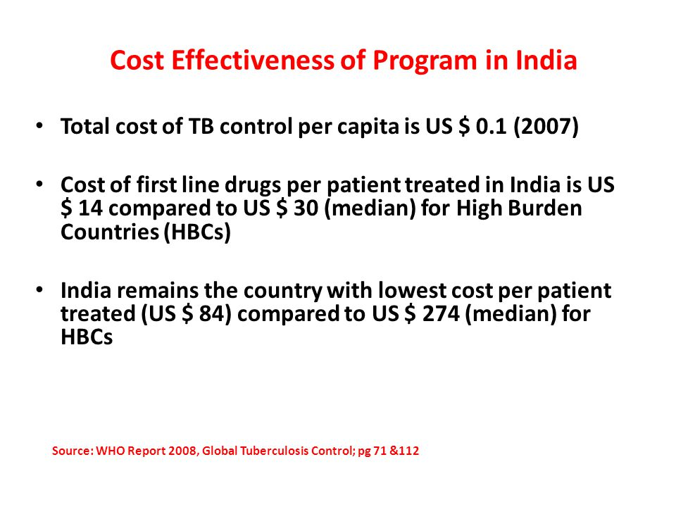 Cost Effectiveness of Program in India Total cost of TB control per capita is US $ 0.1 (2007) Cost of first line drugs per patient treated in India is US $ 14 compared to US $ 30 (median) for High Burden Countries (HBCs) India remains the country with lowest cost per patient treated (US $ 84) compared to US $ 274 (median) for HBCs Source: WHO Report 2008, Global Tuberculosis Control; pg 71 &112