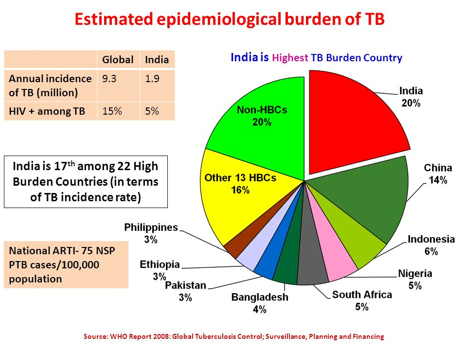 Estimated epidemiological burden of TB Source: WHO Report 2008: Global Tuberculosis Control; Surveillance, Planning and Financing India is 17 th among 22 High Burden Countries (in terms of TB incidence rate) India is Highest TB Burden Country National ARTI- 75 NSP PTB cases/100,000 population GlobalIndia Annual incidence of TB (million) HIV + among TB15%5%