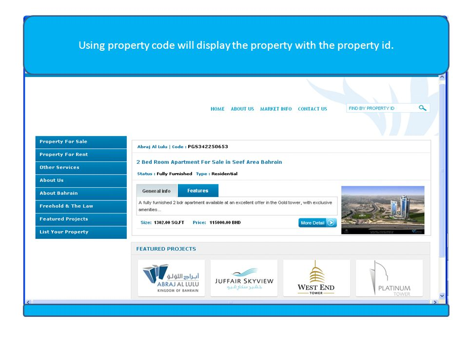 Using property code will display the property with the property id.