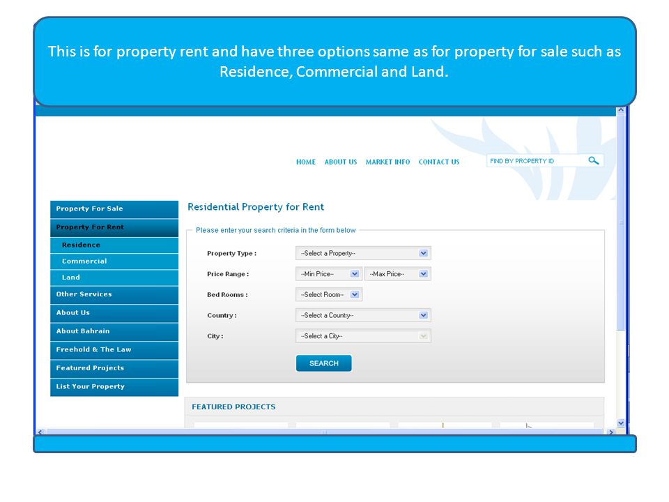 This is for property rent and have three options same as for property for sale such as Residence, Commercial and Land.