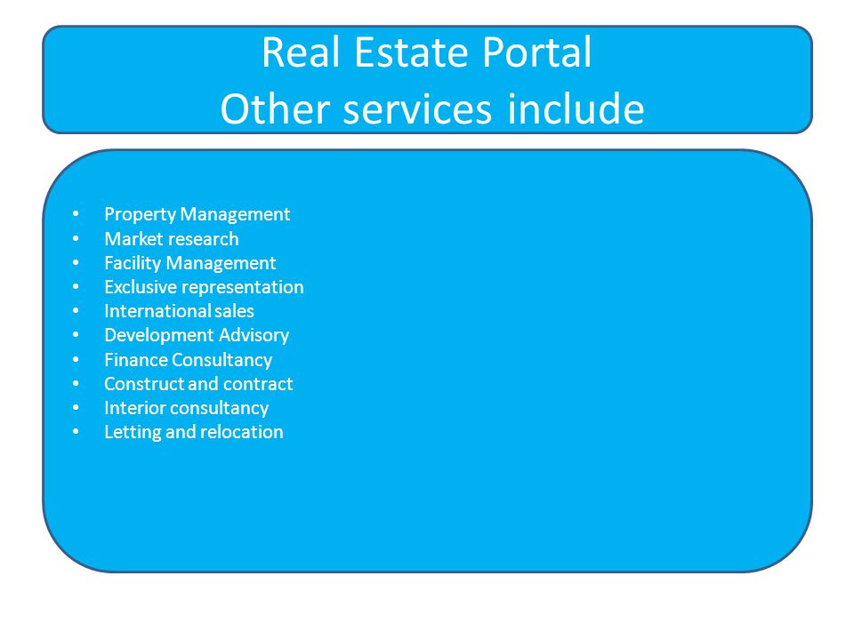 Property Management Market research Facility Management Exclusive representation International sales Development Advisory Finance Consultancy Construct and contract Interior consultancy Letting and relocation Real Estate Portal Other services include