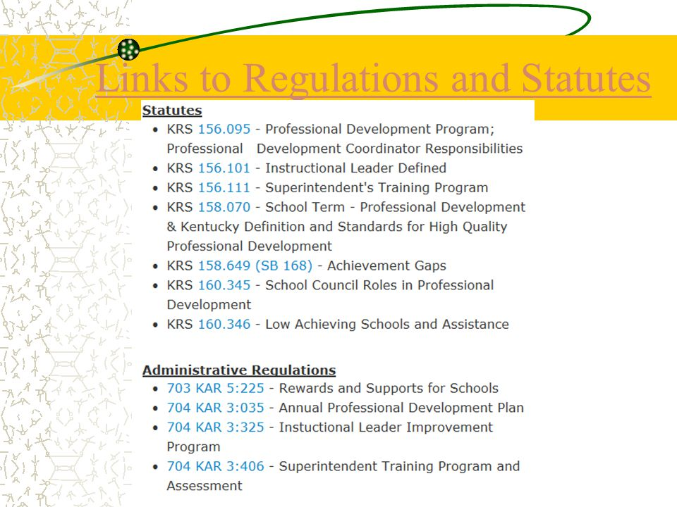 Links to Regulations and Statutes