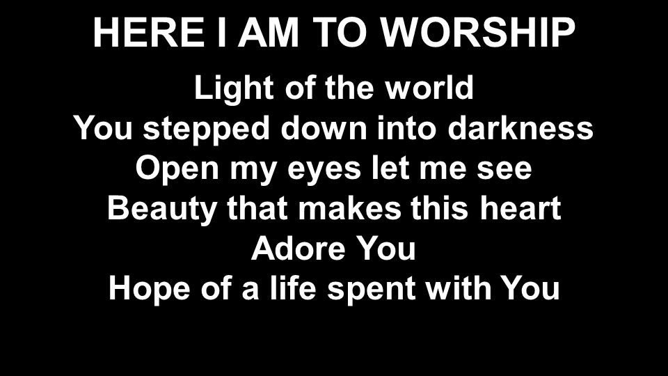 HERE I AM TO WORSHIP Light of the world You stepped down into darkness Open my eyes let me see Beauty that makes this heart Adore You Hope of a life spent with You Light of the world You stepped down into darkness Open my eyes let me see Beauty that makes this heart Adore You Hope of a life spent with You
