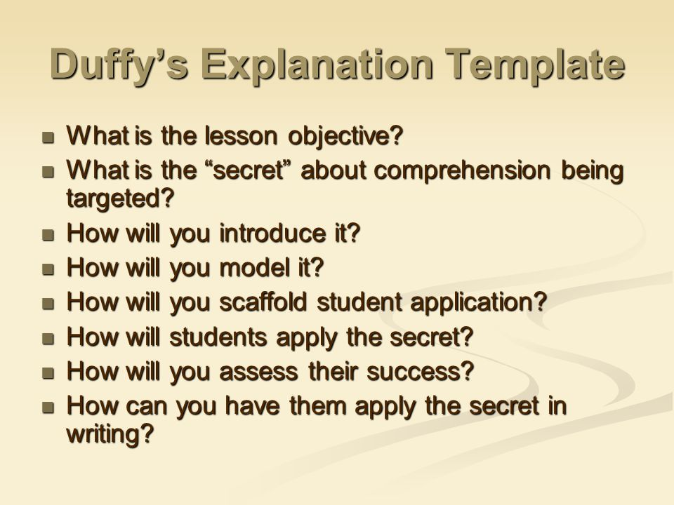 Duffy's Explanation Template What is the lesson objective.