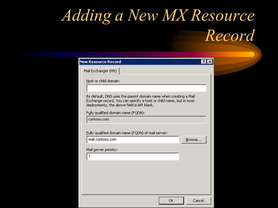 Adding a New MX Resource Record