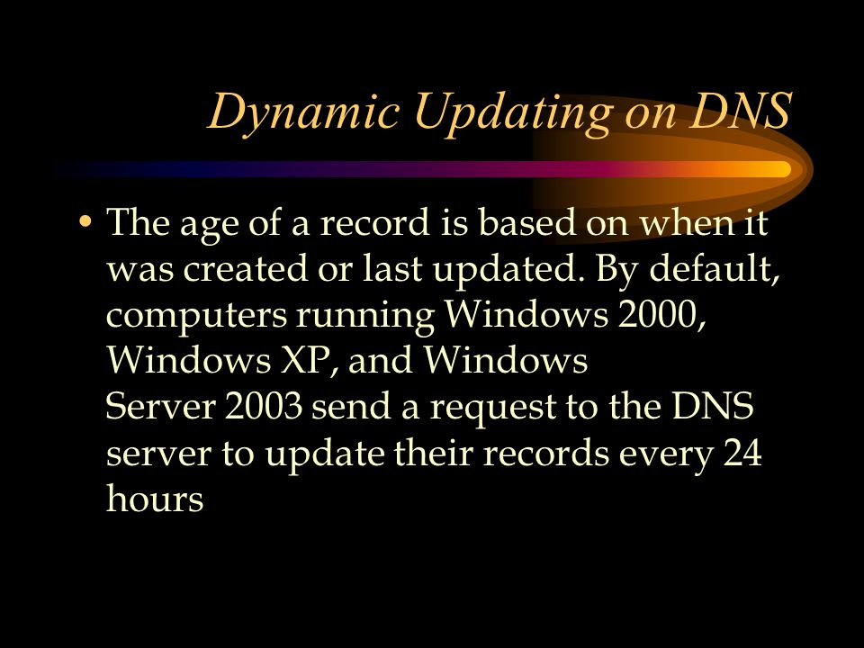 Dynamic Updating on DNS The age of a record is based on when it was created or last updated.