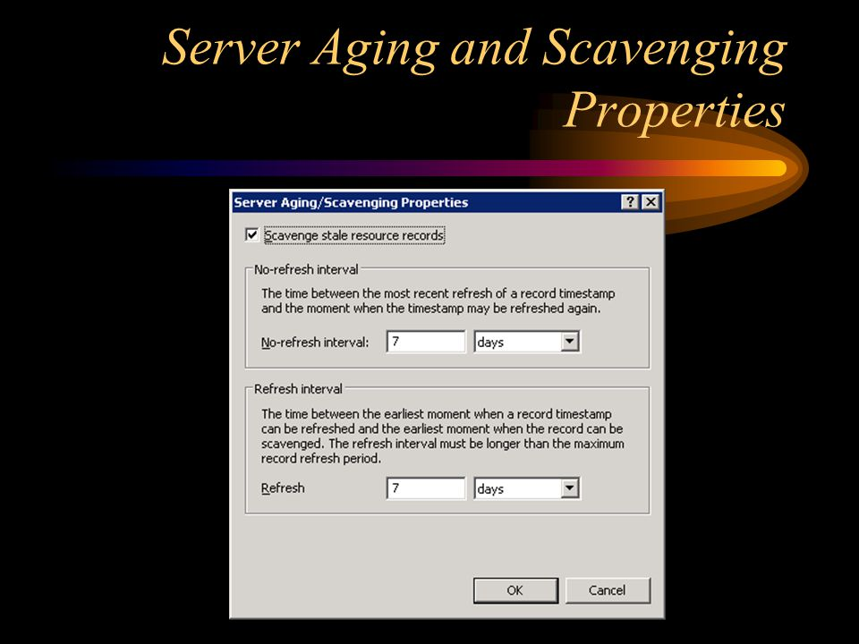 Server Aging and Scavenging Properties