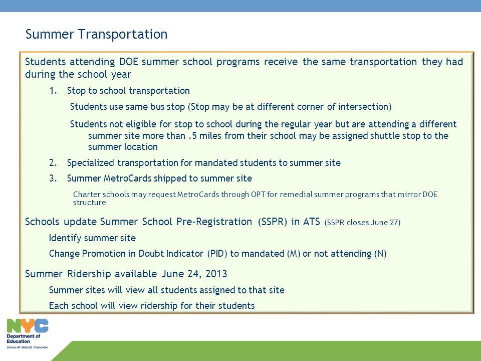 Summer and September Transportation Guidelines for School