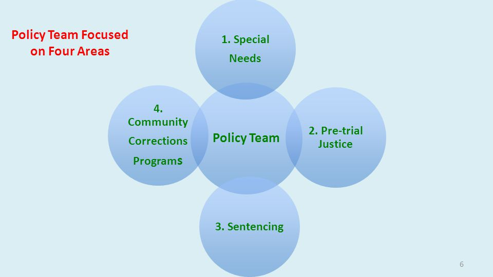 Policy Team Focused on Four Areas 6 Policy Team 1.