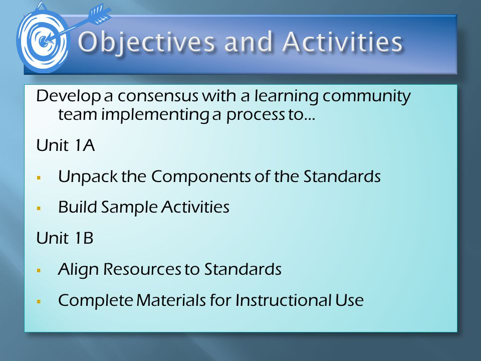 Develop a consensus with a learning community team implementing a process to… Unit 1A  Unpack the Components of the Standards  Build Sample Activities Unit 1B  Align Resources to Standards  Complete Materials for Instructional Use Develop a consensus with a learning community team implementing a process to… Unit 1A  Unpack the Components of the Standards  Build Sample Activities Unit 1B  Align Resources to Standards  Complete Materials for Instructional Use