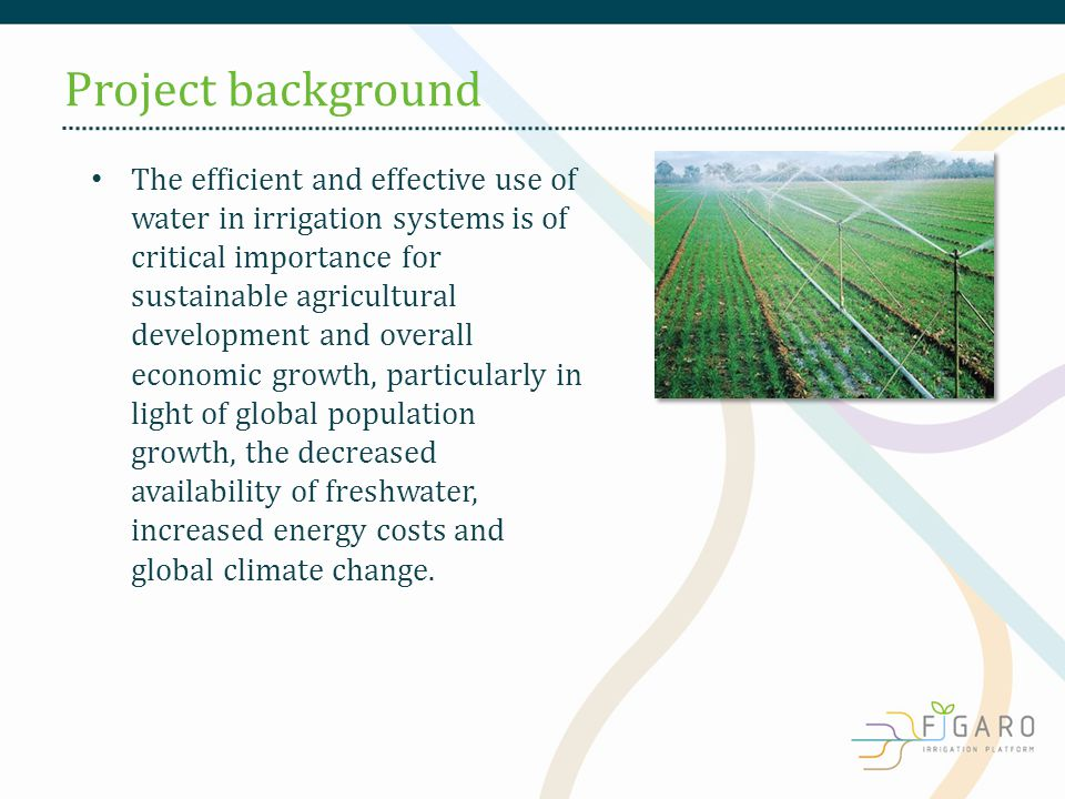 The efficient and effective use of water in irrigation systems is of critical importance for sustainable agricultural development and overall economic growth, particularly in light of global population growth, the decreased availability of freshwater, increased energy costs and global climate change.