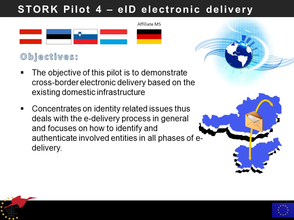 STORK Pilot 4 – eID electronic delivery  The objective of this pilot is to demonstrate cross-border electronic delivery based on the existing domestic infrastructure  Concentrates on identity related issues thus deals with the e-delivery process in general and focuses on how to identify and authenticate involved entities in all phases of e- delivery.