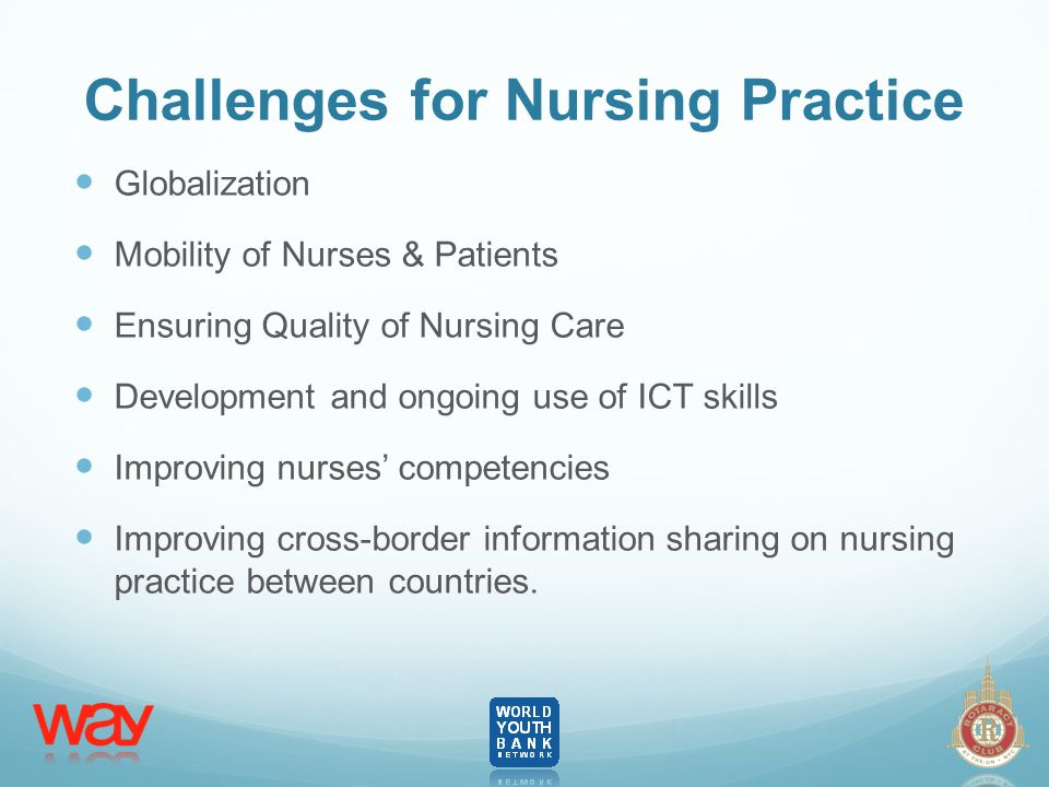 Challenges for Nursing Practice Globalization Mobility of Nurses & Patients Ensuring Quality of Nursing Care Development and ongoing use of ICT skills Improving nurses' competencies Improving cross-border information sharing on nursing practice between countries.