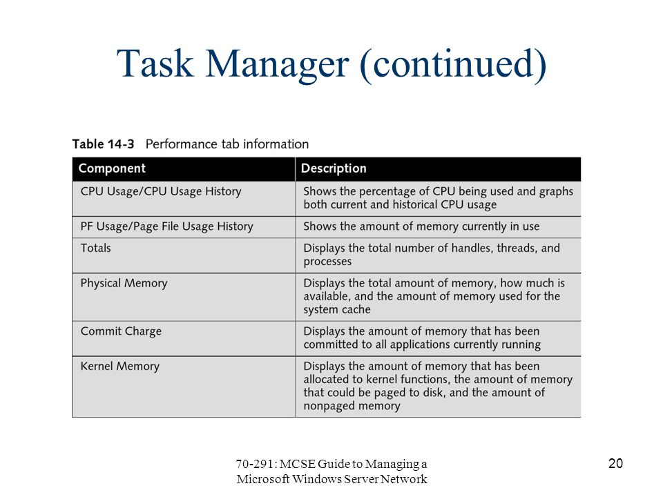 70-291: MCSE Guide to Managing a Microsoft Windows Server Network 20 Task Manager (continued)