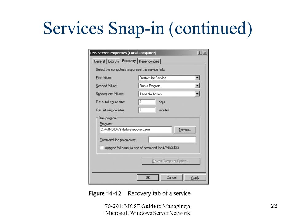 70-291: MCSE Guide to Managing a Microsoft Windows Server Network 23 Services Snap-in (continued)