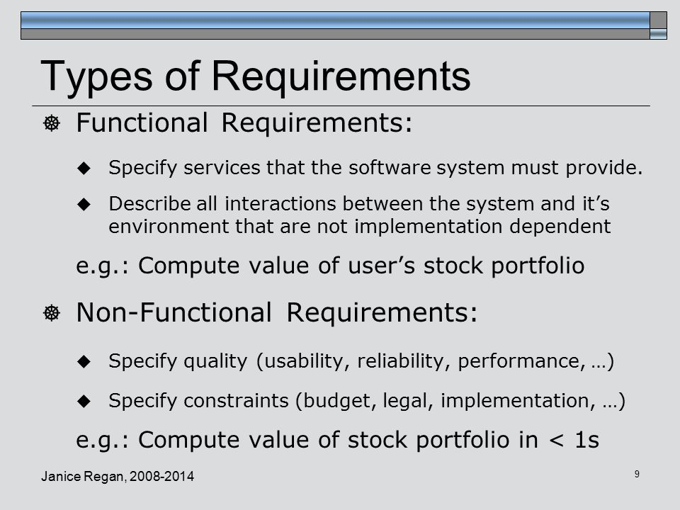 Janice Regan, Types of Requirements  Functional Requirements:  Specify services that the software system must provide.