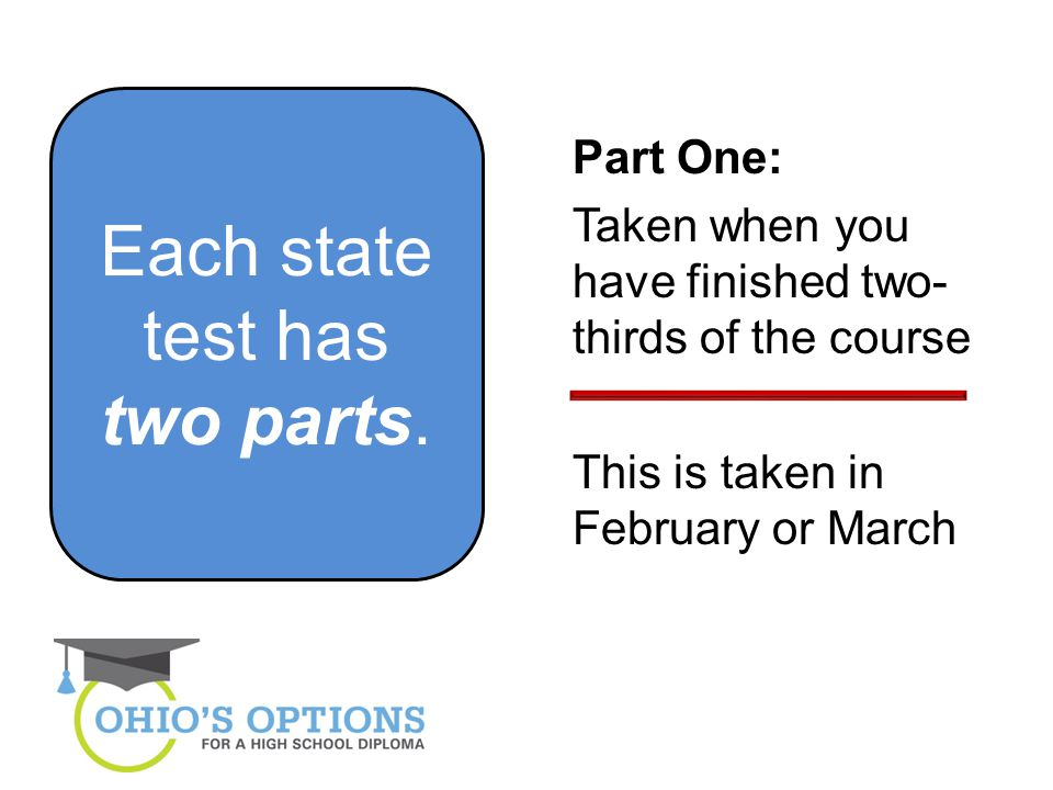 Each state test has two parts.