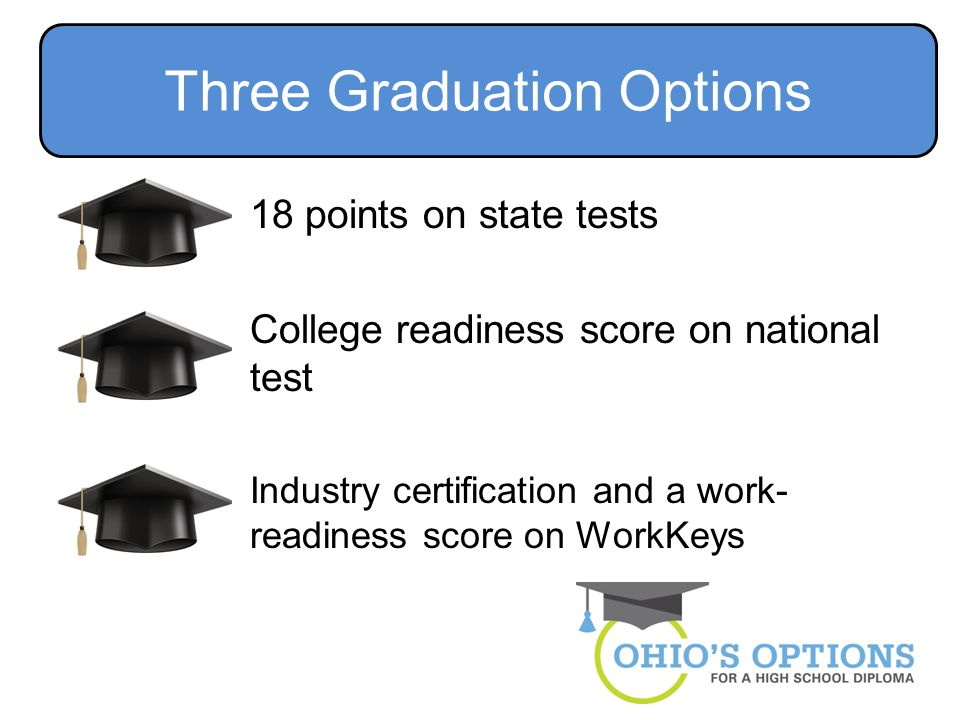 18 points on state tests College readiness score on national test Industry certification and a work- readiness score on WorkKeys Three Graduation Options
