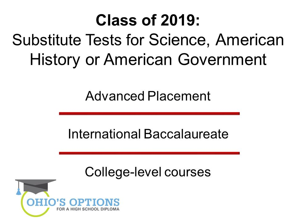 Class of 2019: Substitute Tests for Science, American History or American Government Advanced Placement International Baccalaureate College-level courses