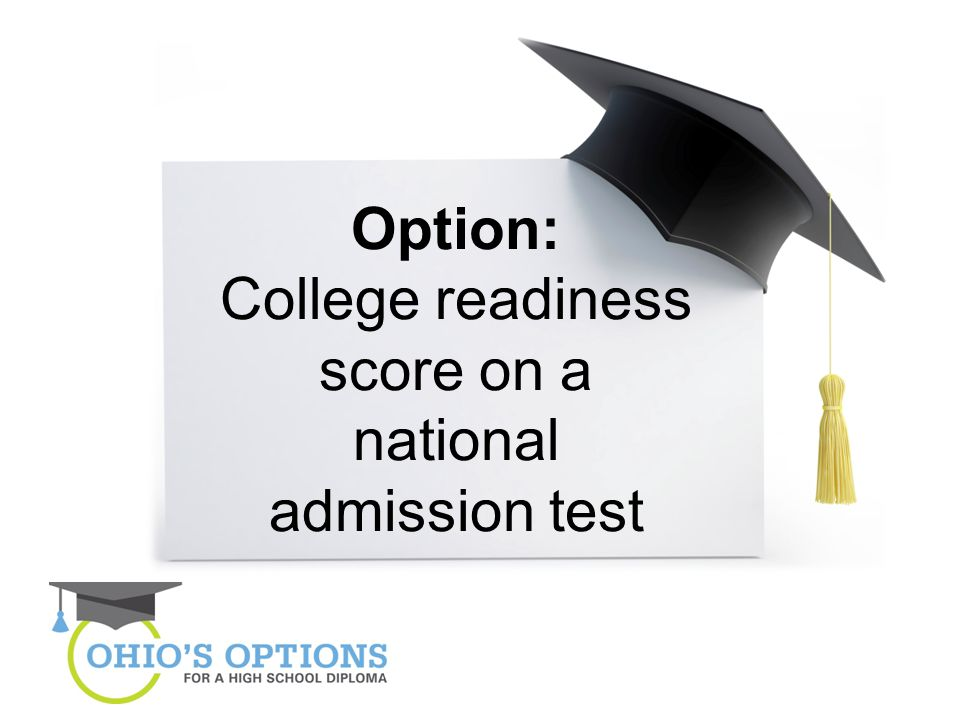 Option: College readiness score on a national admission test