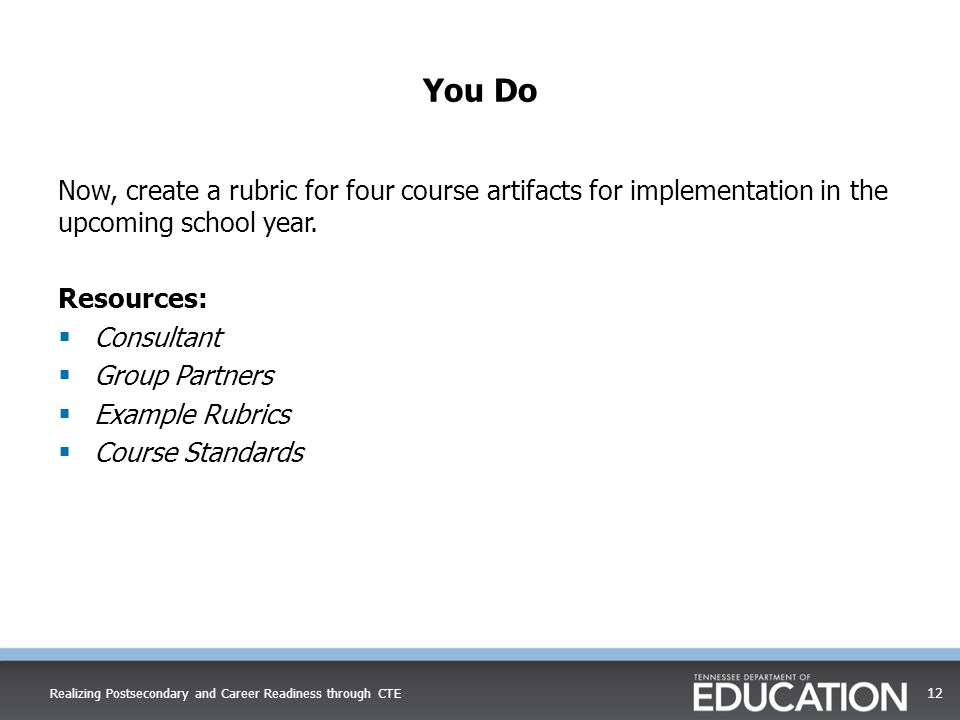 You Do Now, create a rubric for four course artifacts for implementation in the upcoming school year.